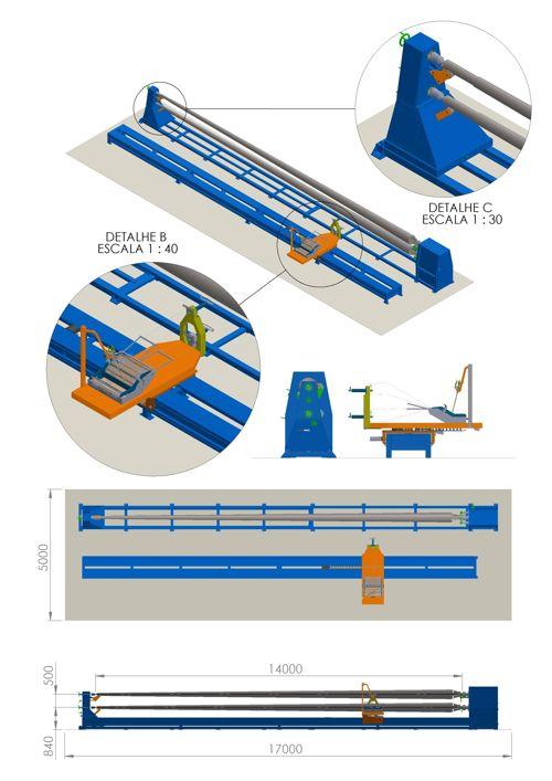 Detalhes da máquina para produção de poste em fibra de vidro