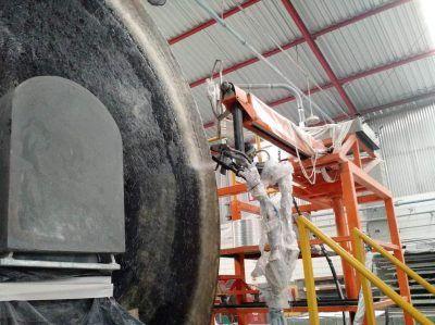 Deposição automática da fibra picada + resina hoop-chop
